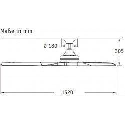 Ceiling fan 152 Cm Fanimation Spitfire Design, oiled walnut wood paddles, 25 years warranty