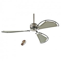 Avalon - Ceiling fan chrome and grey textile blades, silent