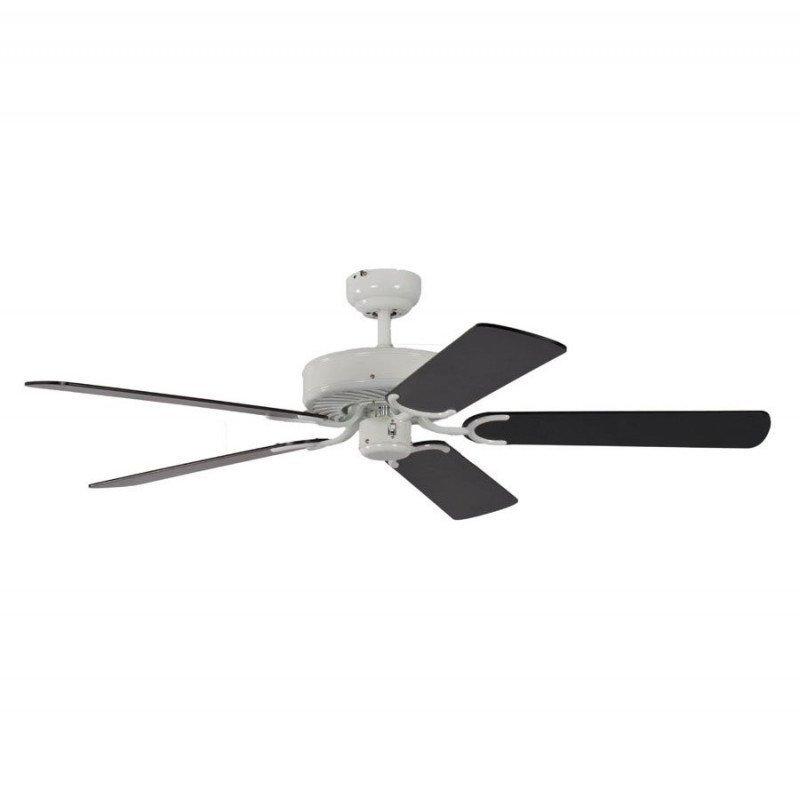 ceiling fan, classic, silent, 132 Cm.white lacquer black blades Potkuri Pepéo.