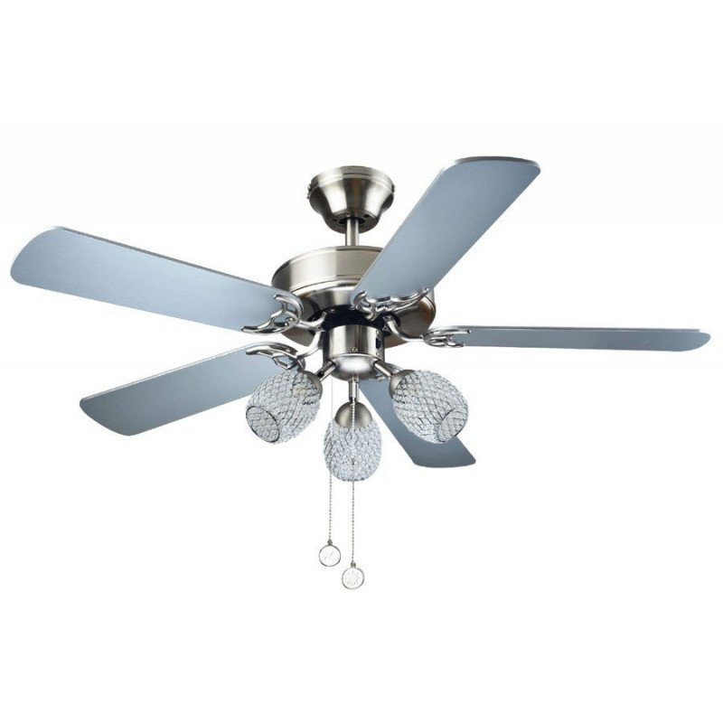 Ceiling fan silver grey, 110 Cm, silent, 3 Led Spotlights