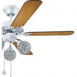 Ceiling fan white body, blades maple / wenge, 110 Cm, silent, 3 Led Spotlights