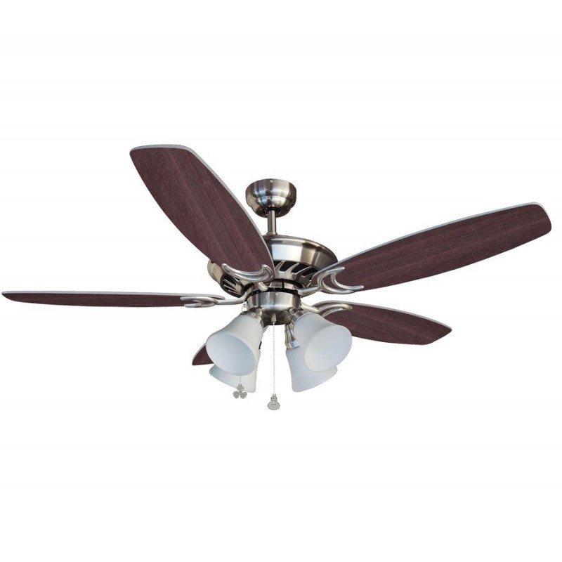Ceiling fan, blades wenge/silver, 132 Cm silent 4 tulips E27 60 Watts