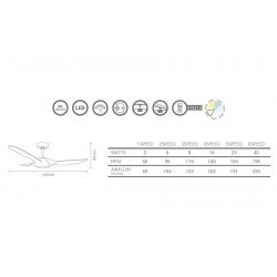 Designer ceiling fan 142 Cm DC with remote control led light, designed for humid environment