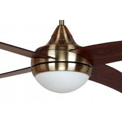 Modern ceiling fan 122 cm antique brass, walnut blades and remote control LBA home alouette