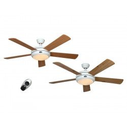 ceiling fan, design, silent 132 Cm, remote control, white lacquer color blades beech / maple. CASAFAN Titanuim
