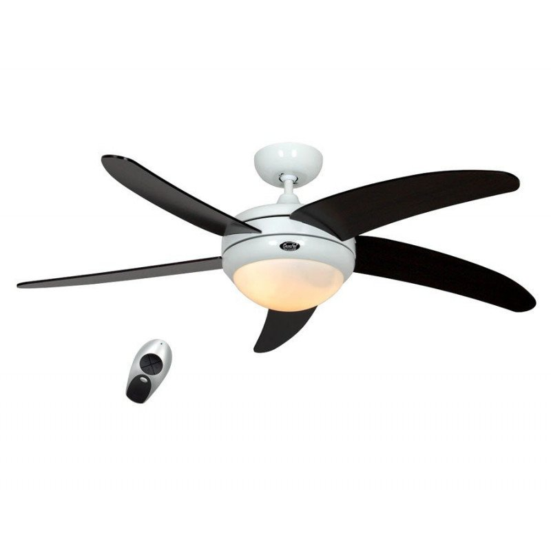 ceiling fan, quiet design 132 Cm white lacquer wenge blades with lamp, CASAFAN Elica WE-WN