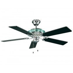 ceiling fan, combining classical and modern style, integrated light, polished chrome, black blades