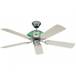 ceiling fan, mixing classical and new age, polished chrome, interior lighting, white blades Merkur Casafan
