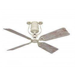 ceiling fan, vintage, white lacquered engine, 132 Cm.pales faux birch DC motor, remote control, Roadhouse SH-Sh CASAFAN
