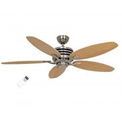 modern ceiling fan Eco Gamma, 137 Cm,blades beech / maple brushed stainless steel engine, remote control