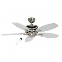 modern ceiling fan Eco Gamma, 103 Cm,blades white / gray brushed stainless steel engine, remote control