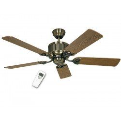 DC Ceiling Fan 132 Cm, Eco Elements MA , Antique Brass, blades Beech / oak aged.
