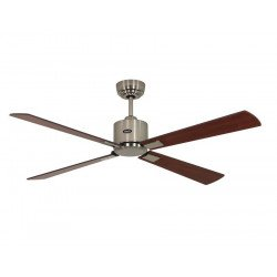 Ceiling Fan, DC, 132 Cm. modern Brushed chrome, walnut / cherry blades remote CASAFAN Eco II Neo BN