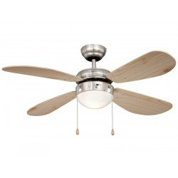 Ceiling Fan 105 cm. nickel plated steel, pine blades, silent, ideal for ideal for low ceilings.