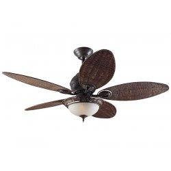 Hunter ceiling fan Caribean Dream patinated bronze, wicker blades, with light 137 cm