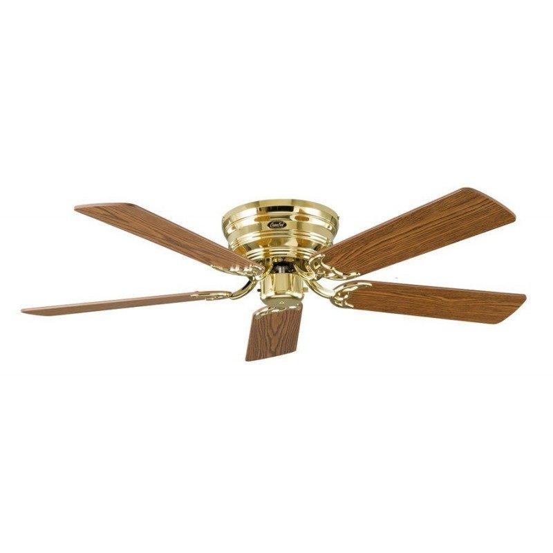 Ceiling Fan, Classic Flat, 132 Cm, silent, polished brass, blades oak / beechCASAFAN