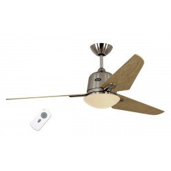 Eco Ceiling Fan DC AVIATOS BN-SL, modern 132 Cm brushed chrome, maple blades, lamp, ultra-quiet