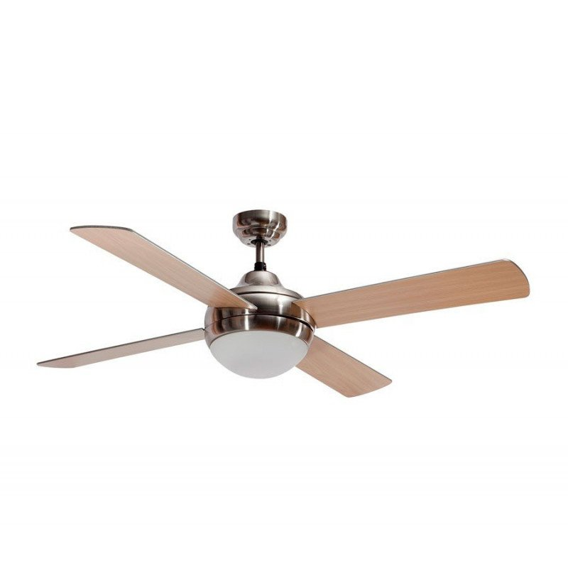 Modern ceiling fan, 122 cm with remote control, light and reversible blades silver and beech, chrome