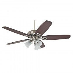 Builder plus - Ceiling Fan, brushed chrom, Brazilian Cherry/ Walnut 132 Cm, silent, 3 tulips, Hunter