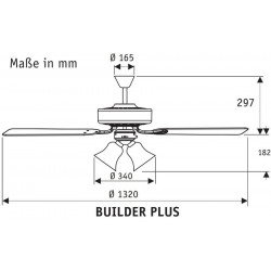 Builder plus - Ceiling Fan, brushed chrom, Brazilian Cherry/ Walnut 132 Cm, silent, 3 tulips, Hunter