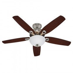 Builder Delux BN, Ceiling Fan brushed chrom, blades Brazilian cherry/ walnut, 132 Cm silent, Hunter