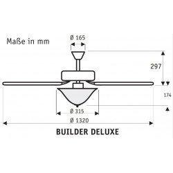 Builder Delux BN, Ceiling Fan brushed chrom, blades Brazilian cherry/ walnut, 132 Cm silent, Hunter