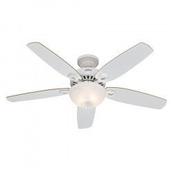 Builder Delux White, Ceiling Fan white, blades white / pine, 132 Cm silent, Hunter