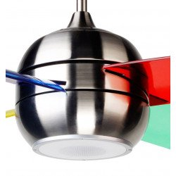 Modern ceiling fan 95 cm with bluetooth speaker, polycarbonate blades 4 colors of 95 Cmes / beech and remote control
