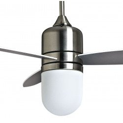 Designer ceiling fan limited edition 122 cm brushed chrome, remote control and powerful lighting, by KlassFan