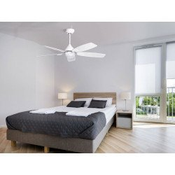 Mistral by Purline By KlassFan a reversible black nickel-plated ceiling fan with ultra white design blades.
