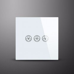 Wall switch for ceiling fans without light, glass, soft touch, white