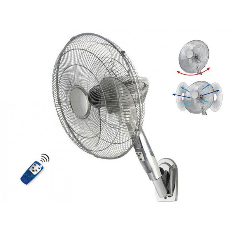 wall fan, greyhound diam. 45 Cm anthracite, with vertical and horizontal position adjustable remote.