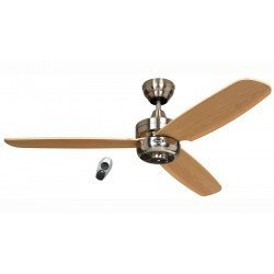 Night Flight BN-BU, modern ceiling fan, 132 Cm Chrome satin, blades Beech, remote control, CASAFAN