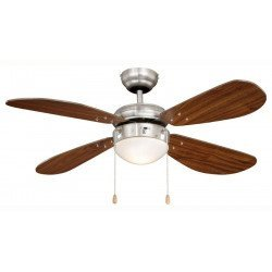 Ceiling Fan 105 cm.plated steel, classic, light, walnut blades, silent, ideal for ideal for low ceilings.