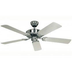 Ceiling fan Casafan Royal Classic 132 Cm, chrome body, white blades.