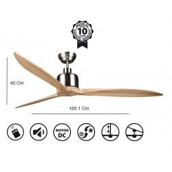 Latino II - DC ceiling fan, 166 cm, wooden blades, Hyper Silence, Wi-Fi and thermostat