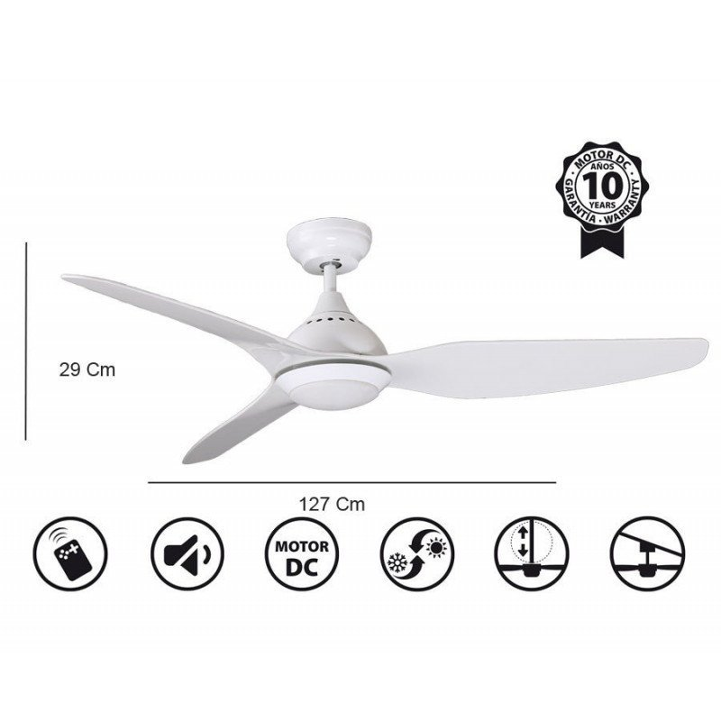 Tropic from KlassFan limited DC ceiling fans designer series, more compact, ultra powerful, with LED lighting system