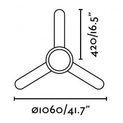 Ceiling Fan, nickel, 106 cm. with lamp, two-color blades, remote control, FARO Féroé 33601