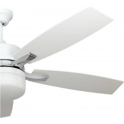 LARGE SIZE ceiling fan white and nickel 132 Cm with powerful light and a remote control .