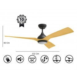 Ceiling Fan DC Motor, 132 Cm , Ultra Quiet, Klassfan Waterwind, with LED Light