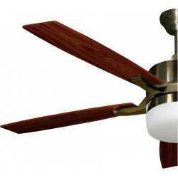 LARGE SIZE ceiling fan antique brass and walnut 140 cm with remote control and lighting