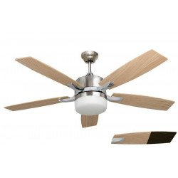 "Large ceiling fan chrome and pine / venge 132 cm / 51.9"" with powerful light and remote control ."