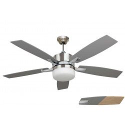 "LARGE SIZE ceiling fan chrome and pine/grey 140 cm/ 55.1"" with remote control and lighting"