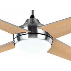 Elysa, ceiling fan 112 Cm motor chrome, reversible blades pine / gray, with Led light and remote control