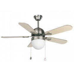 Ceiling fan, modern, nickel-plated, with light, 107 cm. FARO 33157 AGADIR