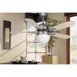 Ceiling fan, modern, nickel-plated, with light, 107 cm. FARO 33157 AGADIR