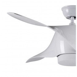 Designer ceiling fan 132 Cm with led light and remote control, white color.