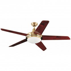 Ceiling Fan, modern, gold and mahogany, 132 cm. lamp, IR remote control, FARO OVNI 33136