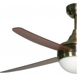 Artus ceiling fan 112 Cm brass antique, blades cherry/walnut, with light kit, and remote control