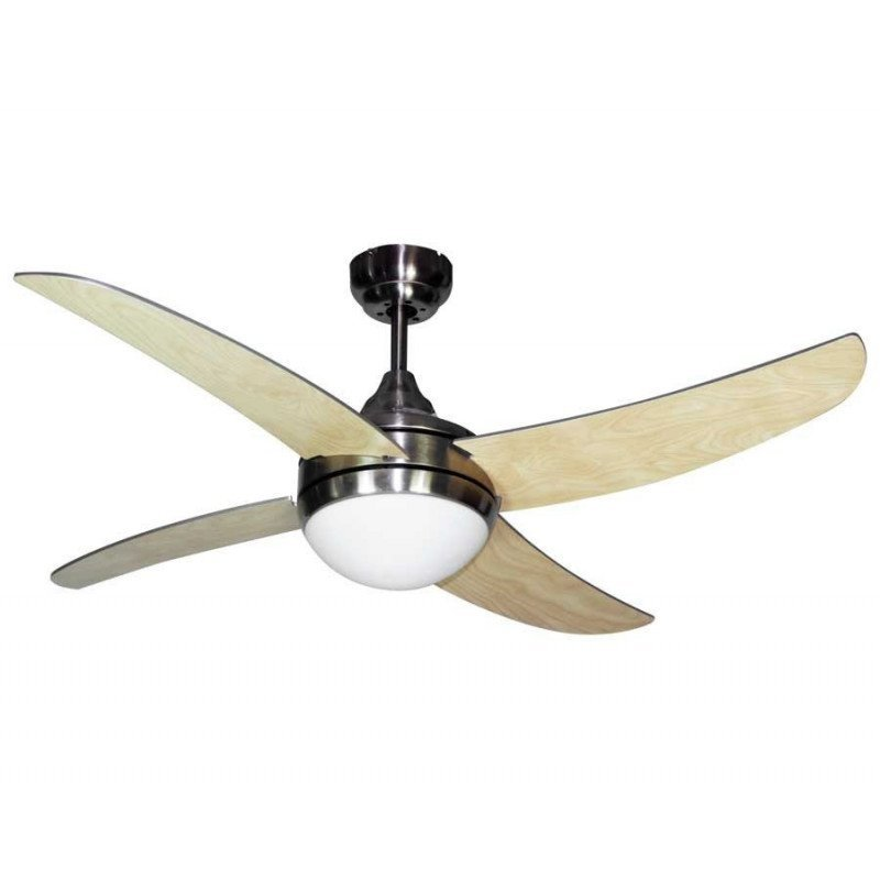 Artus, ceiling fan 116 Cm, engine chrome, blades beech or silver , with light kit and remote control